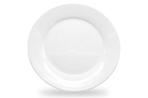 "Nucookery 8"" White Dinner Plates – Medium Microwave-Safe Dishwasher-Safe 6pc Ceramic Dinnerware Set 8 inch"