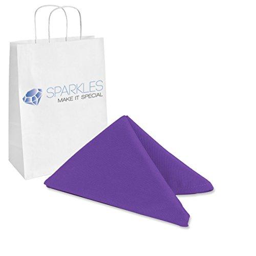 Sparkles Make It Special 50-pcs 17 x 17 Inch Polyester Cloth Napkins Wedding Party Banquet Restaurant Linen Purple