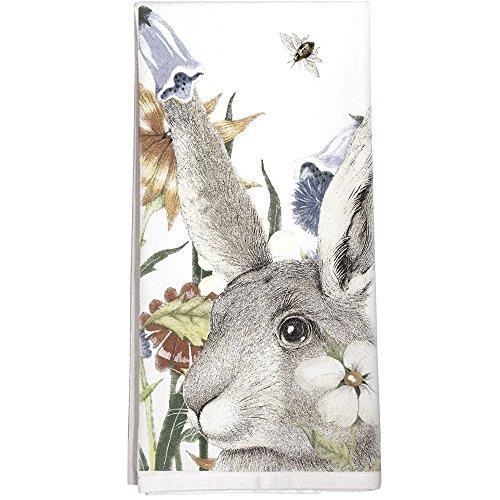 Montgomery Street Rabbit and Flowers Cotton Flour Sack Dish Towel