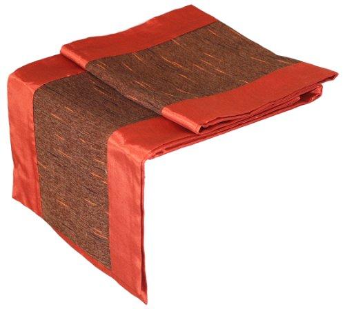 Artiwa Burnt Orange Brown Silk Decorative Table Runner Bed Runner 14 by 80-inch
