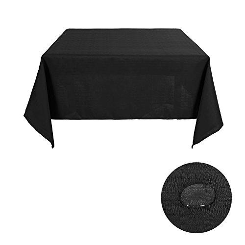 Deconovo Solid Square Table Cloth Faux Linen Water Resistant Tablecloth Square Tablecloth for Kitchen 54W x 54L Inch Black