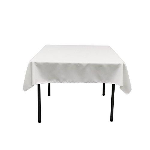 LA Linen Polyester Poplin Square Tablecloth 52 by 52-Inch White