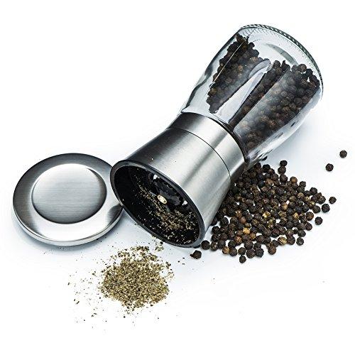 Pepper Grinder Glass Bottle Salt Mills of Brushed Stainless Steel and Adjustable Coarseness