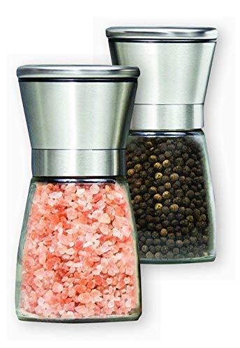 Premium Salt Pepper Grinder Set of 2- Stainless Steel Pepper Mill and Salt Mill- Adjustable Coarseness Ceramic Rotor Glass Body