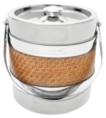 Mr Ice Bucket 3-Quart Stainless Steel Ice Bucket Wicker