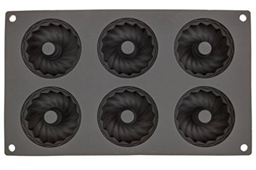 6 Cavity Donut Pan Maker Tray Nonstick 100% Silicone Bpa Free Fda / Lfgb Doughnut Bagel Muffin