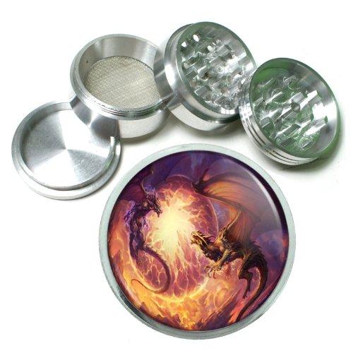 63mm 25 4 Pc Aluminum Sifter Magnetic Herb Grinder Dragons Design-009