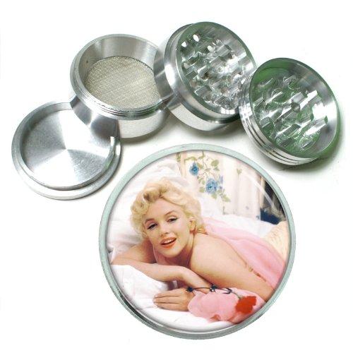63mm 25 4 Pc Aluminum Sifter Magnetic Herb Grinder Marilyn Monroe Design-016