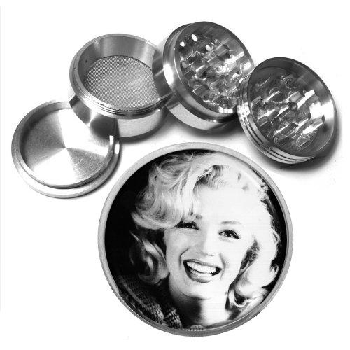 63mm 25 4 Pc Aluminum Sifter Magnetic Herb Grinder Marilyn Monroe Design-019