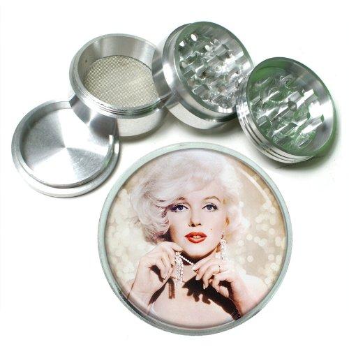 63mm 25 4 Pc Aluminum Sifter Magnetic Herb Grinder Marilyn Monroe Design-027