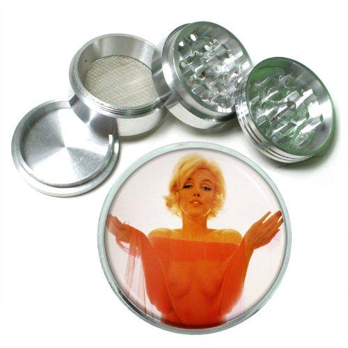 63mm 25 4 Pc Aluminum Sifter Magnetic Herb Grinder Marilyn Monroe Design-034