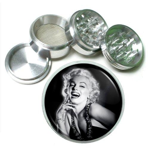 63mm 25 4 Pc Aluminum Sifter Magnetic Herb Grinder Marilyn Monroe Design-047