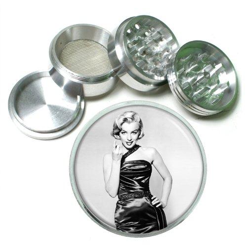 63mm 25 4 Pc Aluminum Sifter Magnetic Herb Grinder Marilyn Monroe Design-051