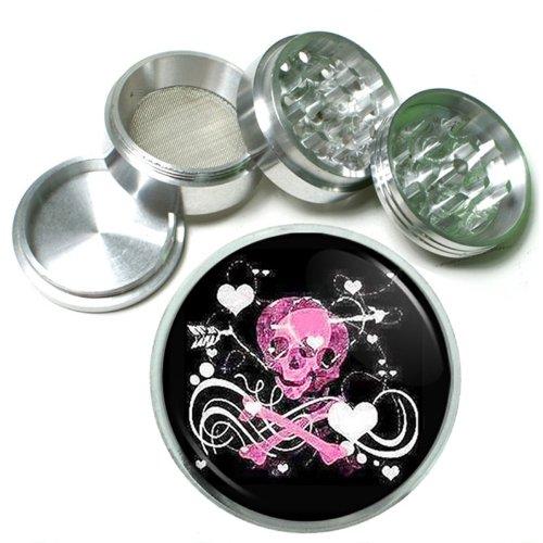 63mm 25 4 Pc Aluminum Sifter Magnetic Herb Grinder Skull Design-010