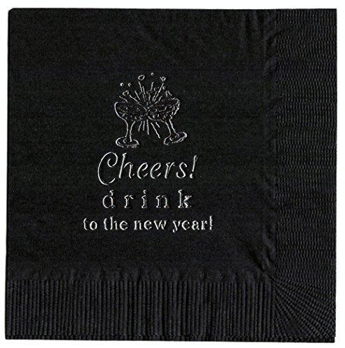 25 Cheers  Black NEW YEARS PARTY cocktail NAPKINS in Silver