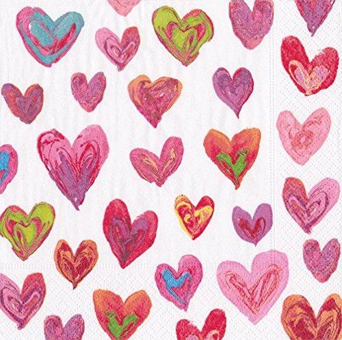 Valentines Day Party Paper Napkins Cocktail Napkins Love Hearts by Caspari Pak 40