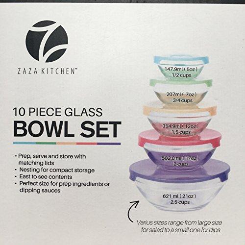 10 Piece Glass Bowl Set Multi-Color Lid