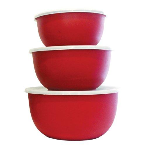 Mega Cocina MCSSMICRBWLRGB 3 Piece Microwavable 188 Stainless Steel Bowl Set 25 oz40 oz60 oz Red