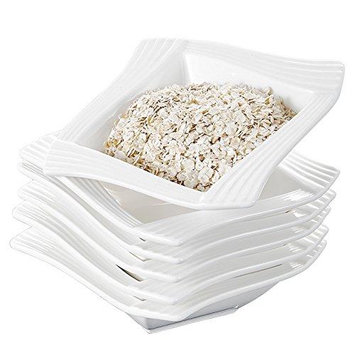 Malacasa Series Amparo 6-Piece 55 12oz Ivory White Porcelain Ceramic Cereal Bowls Square Soup Dessert Bowls