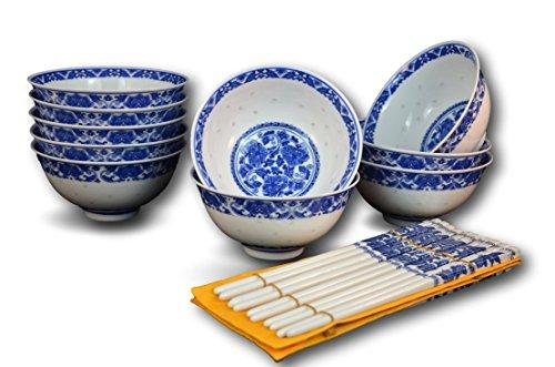 10 Pc Fine Porcelain Blue and White Rice Pattern Bowl Bowl Set with Free 10 Pairs of Porcelain Chopsticks Jingdezhen Soup Bowl Bowl Set Fruit Bowl Cereal Bowl