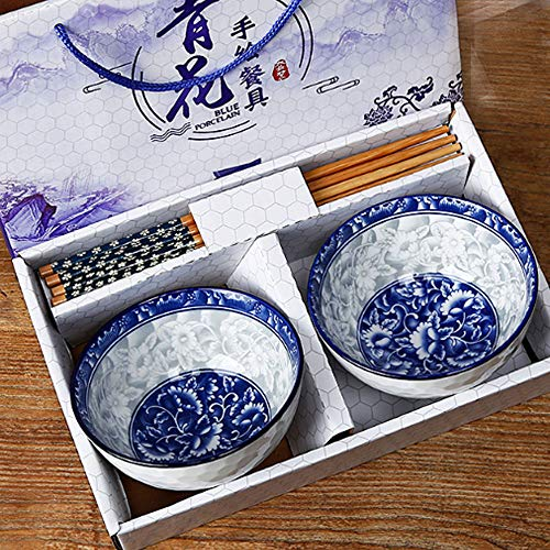 Ceramic Rice Bowls and Chopsticks Set of 2 Chinese Porcelain Rice Bowls with Delicate Box for Rice Soup2