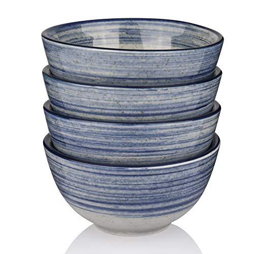 Marstrace Blue and Gray Porcelain Rice bowls4510 Oz Ceramic Cereal Soup Salad BowlsMicrowave Dishwasher SafeSet of 4