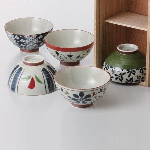 saikai Pottery Traditional Hasami-yaki Japanese Porcelain Rice Bowls Set of 5 Bowls Made in Japan Flower Patterns