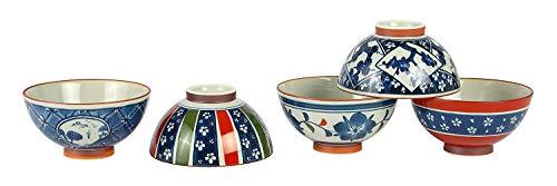 saikai Pottery Traditional Hasami-yaki Japanese Porcelain Rice Bowls Set of 5 Bowls Made in Japan Sometsuke Indigo Red