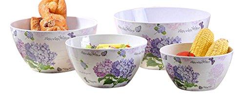 SHALL Housewares 8911 4 Piece Melamine Salad Bowl 4 Hydrangea
