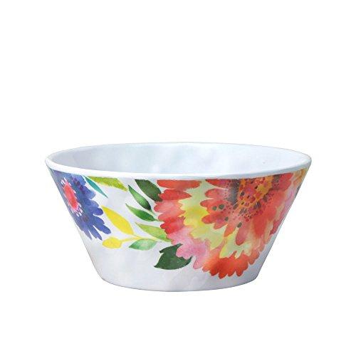 Kim Parker Zinnia Garden Melamine Soup Cereal Bowl 23-Ounce