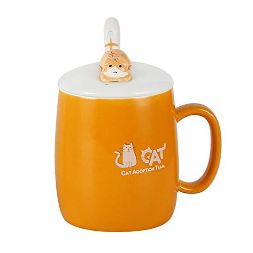 Ynsfree Cute Cat Mug Funny 12 Oz Mugs&Lid&Spoon Ceramic Coffee Cup Novelty Coffee Cup Gift
