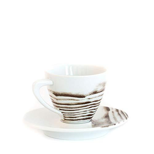 Goode Grain Porcelain Espresso Cup Saucer Set of 4-3oz Capacity