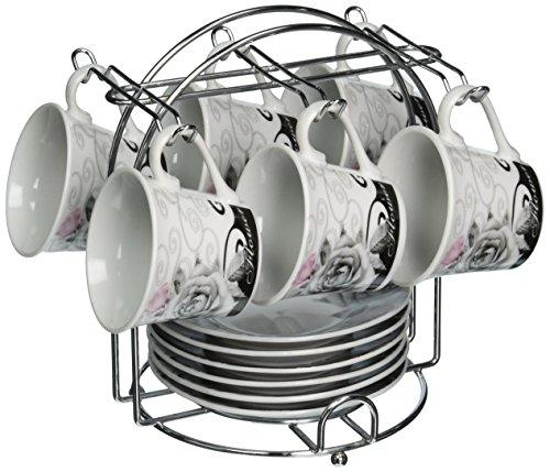 Lorren Home Trends 13-Piece Porcelain Espresso Coffee Cups Black Rose Design