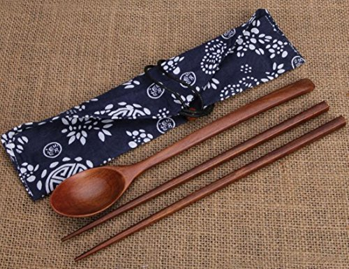 Helen Ou Wood Cutlery Set Wooden Chopsticks and Spoon and Tableware Bag Style B