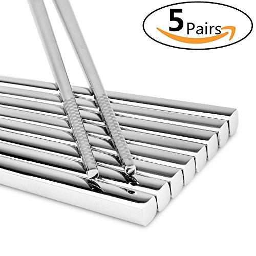 LIUNA High Quality Stainless Steel Chopsticks  Laser Non-skid Design Square Chopsticks  Seiko Polishing 10pcs(5pairs)