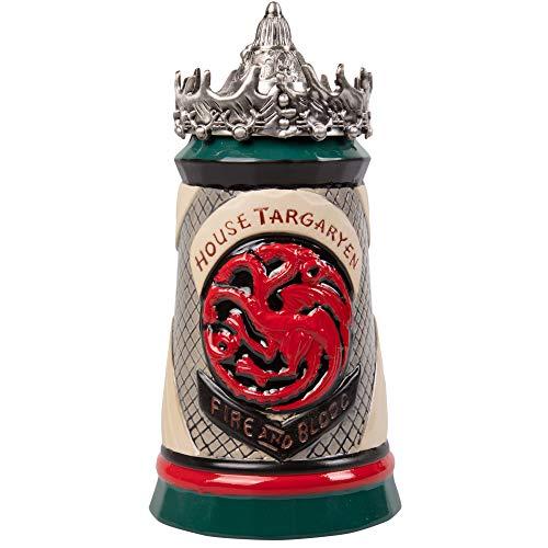 Game of Thrones House Targaryen Beer Stein - Hand Painted Ceramic Base with Pewter Baratheon Crown Lid - 22 oz
