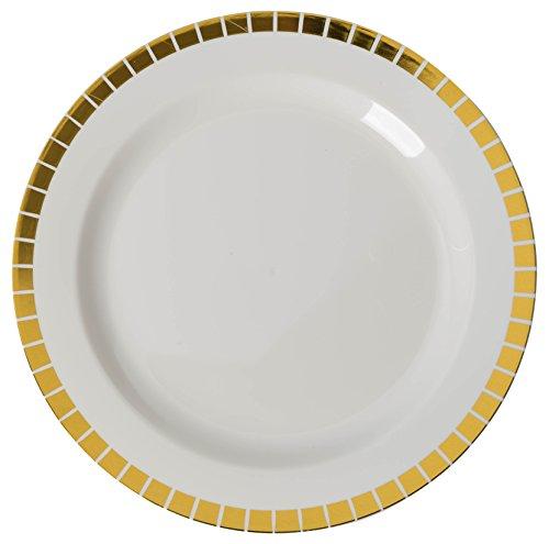 Crown Display 40-Pack Gold Slit Design Plastic Plate Set 20-Dinner 20-Dessert