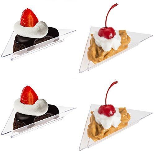 Prexware Triangular Mini Dessert Plates- 48 Triangler Clear Mini Plastic Dessert Plates Great for appetizer tabel desserts