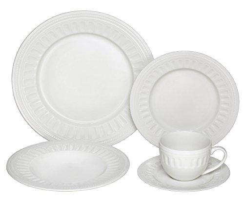 Melange  40-Piece Porcelain Dinnerware Set English Lace  Service for 8  Microwave Dishwasher Oven Safe  Dinner Plate Salad Plate Soup Bowl Cup Saucer 8 Each