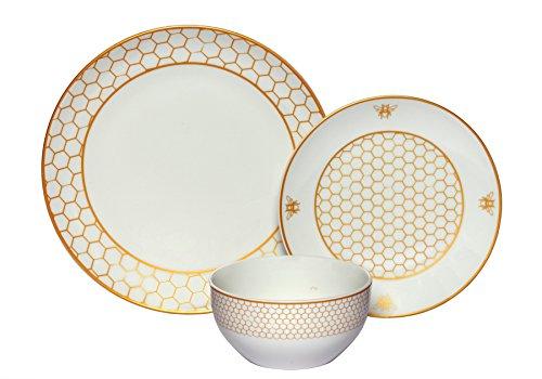 Melange Coupe 36-Piece Porcelain Dinnerware Set Gold Honeycomb  Service for 12  Microwave Dishwasher Oven Safe  Dinner Plate Salad Plate Soup Bowl 12 Each