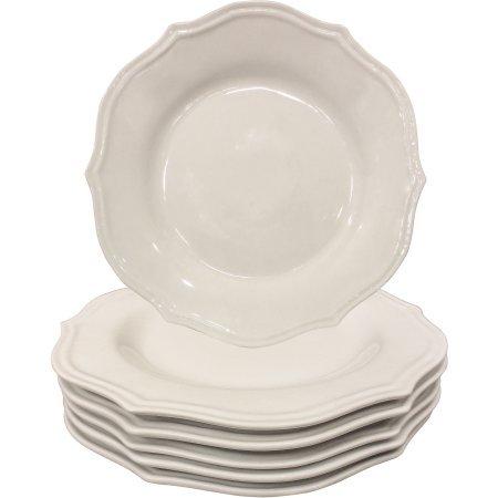 Scalloped Porcelain Dinner Plates White Set of 6
