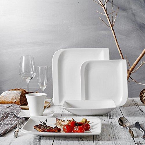 Vancasso 30 Pieces Ivory White Glazed Porcelain Tableware Set of 6 x Cups Saucers Dinner Plates Dessert Plates Soup Plates Dining Service Combi Set for 6