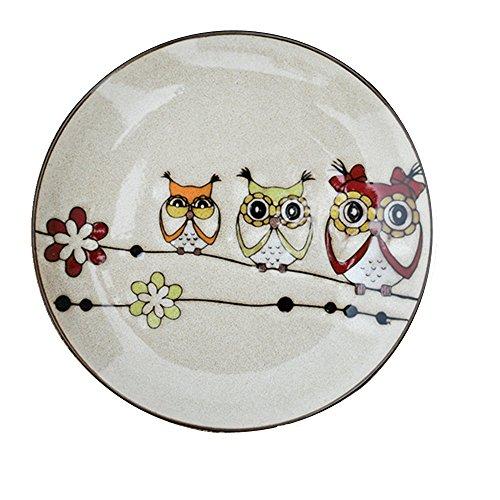 Bestcatgift Owl Pattern BoneChina Dinner Plate Ceramic Salad Dessert Plates8 Inch Multicolor Bone China Lunch Plates
