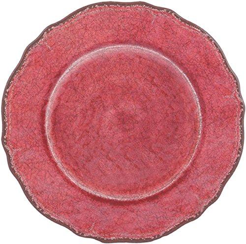 Le Cadeaux Antiqua Solid Red - 9 Melamine Salad Plate Set of 4