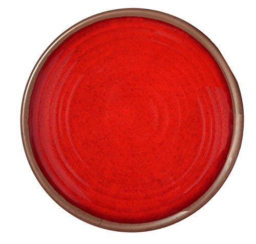 Melange 6-Piece 100 Melamine Salad Plate Set Clay Collection   Shatter-Proof and Chip-Resistant Melamine Salad Plates  Color Red