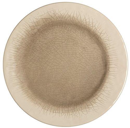 Melange 6-Piece 100 Melamine Salad Plate Set Crackle Collection   Shatter-Proof and Chip-Resistant Melamine Salad Plates  Color Cement