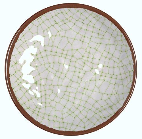 Melange 6-Piece 100 Melamine Salad Plate Set Hammered Checks Collection   Shatter-Proof and Chip-Resistant Melamine Salad Plates  Color Lime