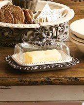 Ceramic Butter Dish with Glass Dome