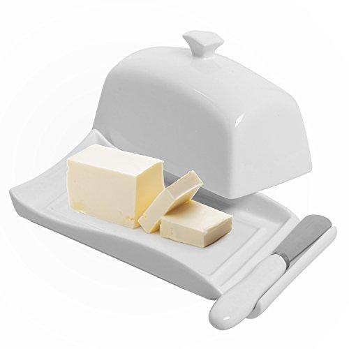 Decorative White Ceramic Lidded Butter Dish Knife Spreader Set - MyGift