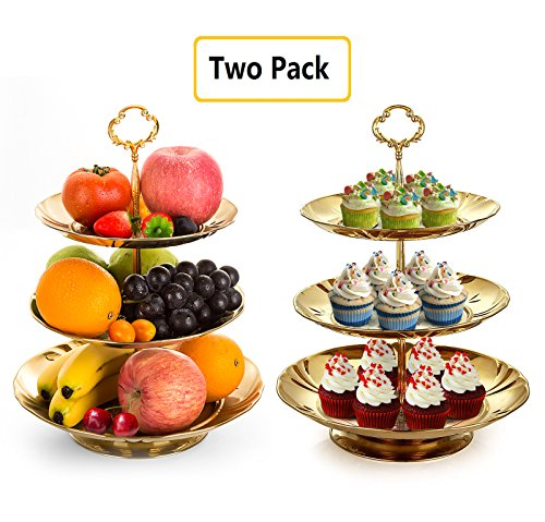 Two Set of Three Tier Cake Stand and Fruit Plate by Imillet -Stainless Steel Stand of Golden for Cakes Desserts Fruits Candy Buffet Stand for WeddingHome&Party Serving Platter 2 pack
